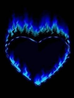 The hottest part of fire. This reminds me of the tattoo I got when I turned A heart with blue flames. It's on the back of my shoulder. I hardly ever show it, but it's apart of me forever. Coeur Gif, Heart Gif, Heart Burn, Heart Images, Heart Pictures, I Love Heart, Heart Wallpaper, Lion Wallpaper, Skull Wallpaper