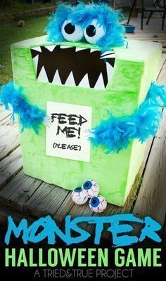 """Make this super easy """"Feed The Monster"""" Halloween Game with just a few supplies! Perfect for Halloween Parties! #halloweenpartygames #halloweenpartysupplies"""