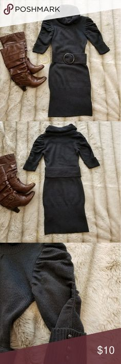 Derek Heart steel grey sweater dress Steel grey cowl neck sweater dress with belt included. Looks very flattering with leggings and boots! There is a tiny hole on the neck (see picture), but the neck can be folded in a way that it's not visible. Derek Heart Dresses