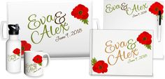 Personalized wedding watercolor poppy tray, whiteboard, foil guest book, water bottle and mug