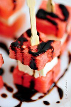 Watermelon Feta Appetizer Bites Recipe from addapinch.com
