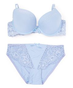 Look what I found on #zulily! Blue Lace Rhinestone Bra & Briefs - Plus Too #zulilyfinds