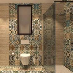Nikea mix pattern tile set - Nikea Tile is a floor tile with a mixture of 27 random vintage victorian prints and colours with a - Best Bathroom Flooring, Bathroom Floor Tiles, Bathroom Wall, Kitchen Backsplash, Bad Inspiration, Bathroom Inspiration, Bathroom Ideas, Bathroom Remodeling, Bathroom Design Small