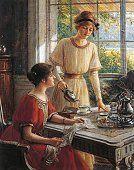 Detail from Women having tea, by Albert Lynch (1851-1912)