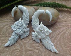 "SALE: Fake Gauge Earrings, ""Owl In Flight"" Naturally Organic, Bone, Hand Carved, Tribal. $35.00, via Etsy."