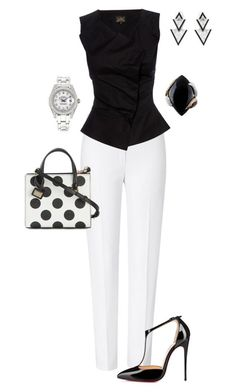 A fashion look from June 2015 featuring ESCADA pants, Christian Louboutin pumps and Dolce&Gabbana tote bags. Browse and shop related looks. Business Casual Outfits, Classy Outfits, Stylish Outfits, Beautiful Outfits, Black Outfits, Work Fashion, Fashion Looks, Fashion Beauty, Mode Ab 50
