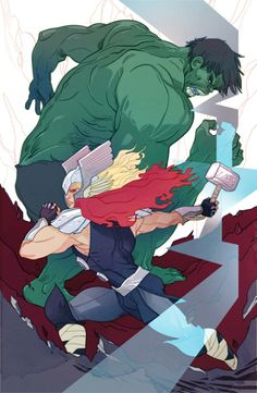 The Hulk and Thor by Marguerite Savage *