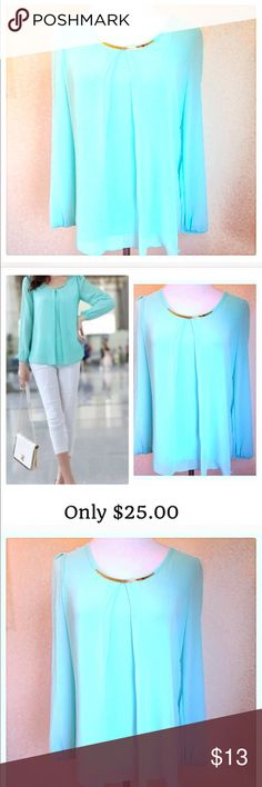 Tiffany blue chiffon top Never been worn and extremely stylish. Beautifully lined. Fits a size 2-4 Tops Blouses