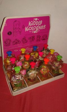 Why can I never find something like this in old, obscure places????   Store Display Full Of 12  1967 Mattel Vintage  LITTLE KIDDLES KOLOGNE Kiddle