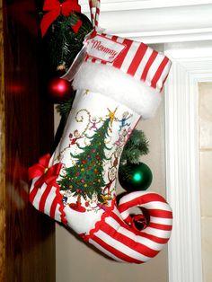 Personalized Christmas Stocking elf stocking by sugarplumfaire