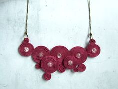 Geometric pink soutache necklace - soutache jewelry - modern circle simple - christmas gift under 40 - hand embroidered - pastel. $39.00, via Etsy.