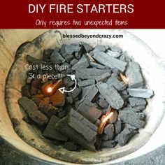 DIY Fire Starters: Only requires two unexpected items!  Save a ton of money by making your own fire starters that are super easy to make and cost less than 3 cents a piece!!!