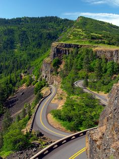 "Historic Columbia River Highway, Bridal Veil, OR | Considered the oldest scenic highway in the US, this parkway runs through the Columbia River Gorge between Troutdale and The Dalles, OR. Built from 1913 to 1922, it has often been referred to as ""the King of Roads"" and compared with the great scenic roads of Europe, after which it was modeled. The road was the work of Samuel Hill and engineer and landscape architect Samuel C. Lancaster…"