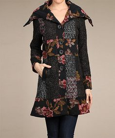 Another great find on #zulily! Black & Brown Floral Car Coat by Neslay Paris #zulilyfinds