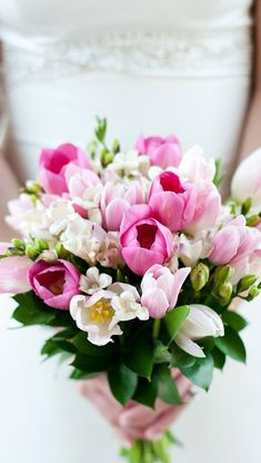 A bouquet of pink and white tulips is beautiful