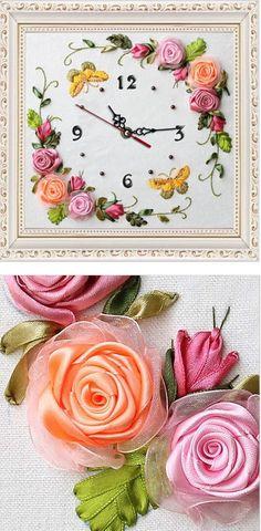 Idea - for handmade flower clock. Love the sweet ribbon roses! :)