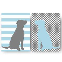 love...Kids Wall Decor- Prints for Nursery- Set of 2 Dog Silhouette Prints- Light Blue Gray- Nursery Decor- Animal Prints- Polka Dot Stripes