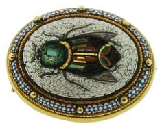 antique Micromosaic Scarab Pin: Waldmann Inc