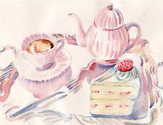 Carol Gillott, tea, watercolor