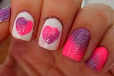 So why not dress up your nails with cute nail art too? Here are some easy-to-do nail art ideas for Valentine's Day. Funky Nails, Love Nails, Pretty Nails, Colorful Nails, Fingernail Designs, Cute Nail Designs, Nail Art 2014, Valentine Nail Art, Super Cute Nails