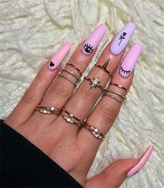 Unique Acrylic Coffin Nails Designs In 2019 - Nail Art Connect - New Ideas Edgy Nails, Grunge Nails, Stylish Nails, Swag Nails, Edgy Nail Art, Acrylic Nails Natural, Best Acrylic Nails, Summer Acrylic Nails, Long Nail Designs