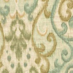 "Amazon.com: 54"" Wide Fabric by the Yard, Swavelle Trissino Cliffside Loden, Aqua Green Gold Ikat Fleur, Linen Blend: Arts, Crafts & Sewing"
