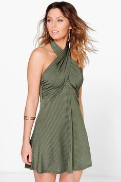 Designer Clothes, Shoes & Bags for Women Day To Night Dresses, Khaki Dress, Holiday Dresses, Swing Dress, Dress Collection, Dresses For Sale, Boohoo, Short Dresses, Bodycon Dress