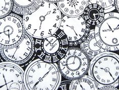 steampunk fabric | Clock face cotton fabric for small steampunk by vintageinspiration