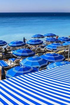 True blue, bright blues, blue beach, blue and white stripe cabana. The French Riviera Beach Aesthetic, Blue Aesthetic, Provence, Love Blue, Blue And White, Nice Ville, Bleu Indigo, Blue Beach, Hawaii Beach
