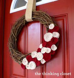 Felt Flower Wreath via The Thinking Closet