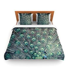 """Kess InHouse Ann Barnes """"Majestic"""" Peacock Feather Queen Fleece Duvet Cover, 88 by 88-Inch"""