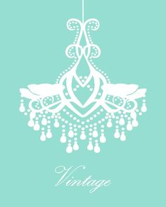 Tiffany Blue Chandelier Vintage