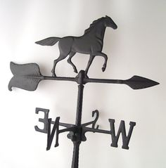 vintage horse weathervane black cast iron by RecycleBuyVintage, $50.00
