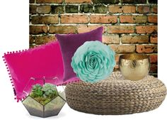 """""""Brick and Jewel Tones; in the Living Room!"""" by alaura-ewen on Polyvore"""
