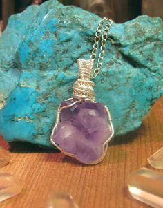 Skeletal Amethyst Cluster Pendant - Sterling Silver Wire Wrapped Crystal - Crystal Castle Necklace - Protection Amulet - Crown Chakra by PrimalPulseDesigns on Etsy