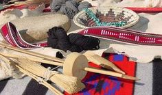 Navajo weaving tools, shash belt, basket, jewelry and rug. Native American Costumes, Native American History, Native American Indians, Native American Jewelry, Navajo Art, Navajo Rugs, Blessed Song, Navajo People, Cultural Crafts