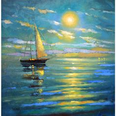 La luna oil on canvas Dmitry Spiros. sea oil painting on canvas. Sea... ($215) ❤ liked on Polyvore featuring home, home decor, wall art, canvas oil paintings, ocean oil painting, ocean home decor, painted wall art and canvas home decor
