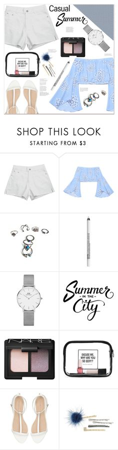 """""""Casual summer"""" by mycherryblossom on Polyvore featuring NYX, Daniel Wellington, NARS Cosmetics, WithChic, Zara and ABS by Allen Schwartz"""