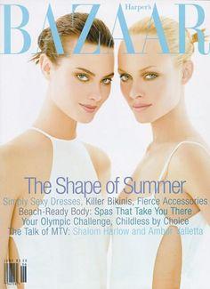 Shalom Harlow & Amber Valetta on the cover of Harper's Bazaar, June 1996.
