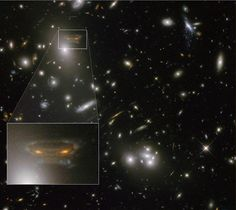 Gravitational Lens Creates Cartoon of Space Invader - Galaxy cluster Abell 68 contains a spiral galaxy at upper left that resembles an alien from the video game Space Invaders.