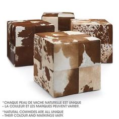 Atelier - Cowhide leather ottoman - (colour may vary)/OTTOMANS/SEATING/ATELIER BOUCLAIR|Bouclair.com