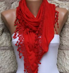 Red  Shawl Scarf  Headband Necklace Cowl by fatwoman on Etsy, $17.00