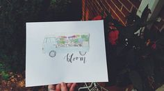Flower Truck Hand-Painted 8x10 Watercolor Illustration  #lettering #calligraphy #handmade #handlettered #watercolor #art #shoplocal #birminghamal #bham #shopsmall #gingerlyjevelyn #etsy #smallbusiness #etsyshop #handmadeart #bloom #flowers #flowertruck #summer #spring #prints #quirkyart #unique #oneofakind #giftidea #homedecor