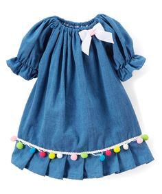 Take a look at this Teal Pom-Pom Scilla Dress - Infant & Toddler today!