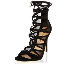 River Island Black caged lace-up heels (475 RON) ❤ liked on Polyvore featuring shoes, lace up shoes, black shoes, high heel stilettos, high heel shoes and black peep toe shoes