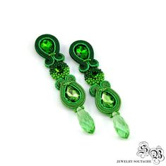 Green Clip on earrings Green Long Dangle Soutache Earrings Small Earrings, Green Earrings, Clip On Earrings, Soutache Bracelet, Soutache Jewelry, Etsy Earrings, Beaded Earrings, Beaded Bracelets, Plastic Canvas Tissue Boxes