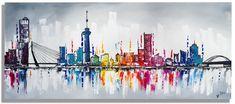 De leuk schilderij van de Skyline van Rotterdam, met o.a. de beroemde Erasmusbrug en Euromast. Kan uw interieur wel wat kleur gebruiken dan is dit schilderij …