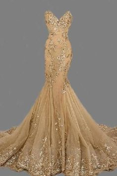 Fashion Sexy Gold Sweetheart Long Prom Dress,Handmade Gold Formal Women Evening Dress,