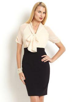 ANNE KLEIN DRESS Structured Sleeve Twofer Dress