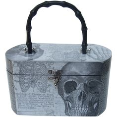 Pre-owned Avant Garde Decoupage Artisan Skeleton Box Style Handbag ($295) ❤ liked on Polyvore featuring bags, handbags, handbags and purses, novelty bags, hardware bag, lightweight purses, clasp purse, preowned handbags and skull bag